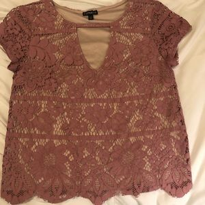 Express Pink Lace Short-Sleeve Top